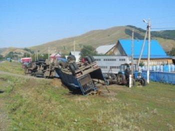 В Башкирии опрокинулся КамАЗ с коровами