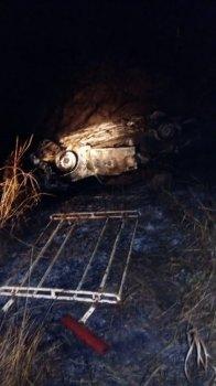В Башкирии перевернулся и загорелся автомобиль, водитель погиб