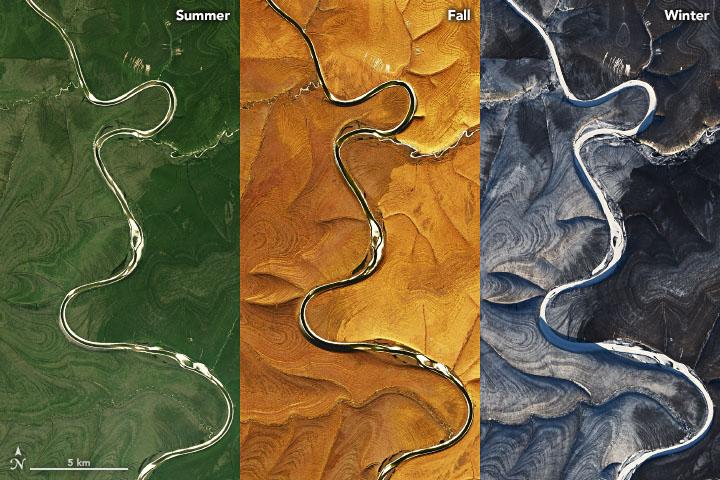 NASA обнаружило загадочные полосы на спутниковых снимках над рекой Марха в России